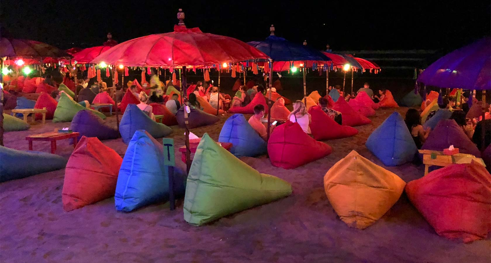 DOUBLE SIX BEACH bean bags on sand