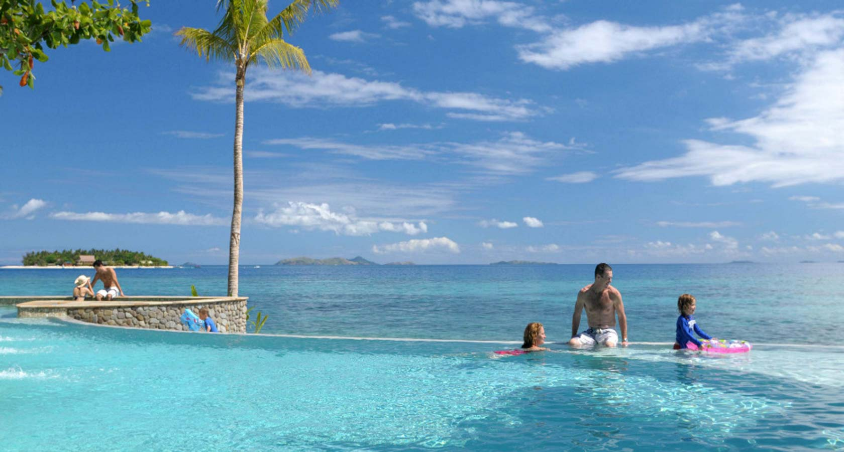 TREASURE ISLAND RESORT FIJI people in pool