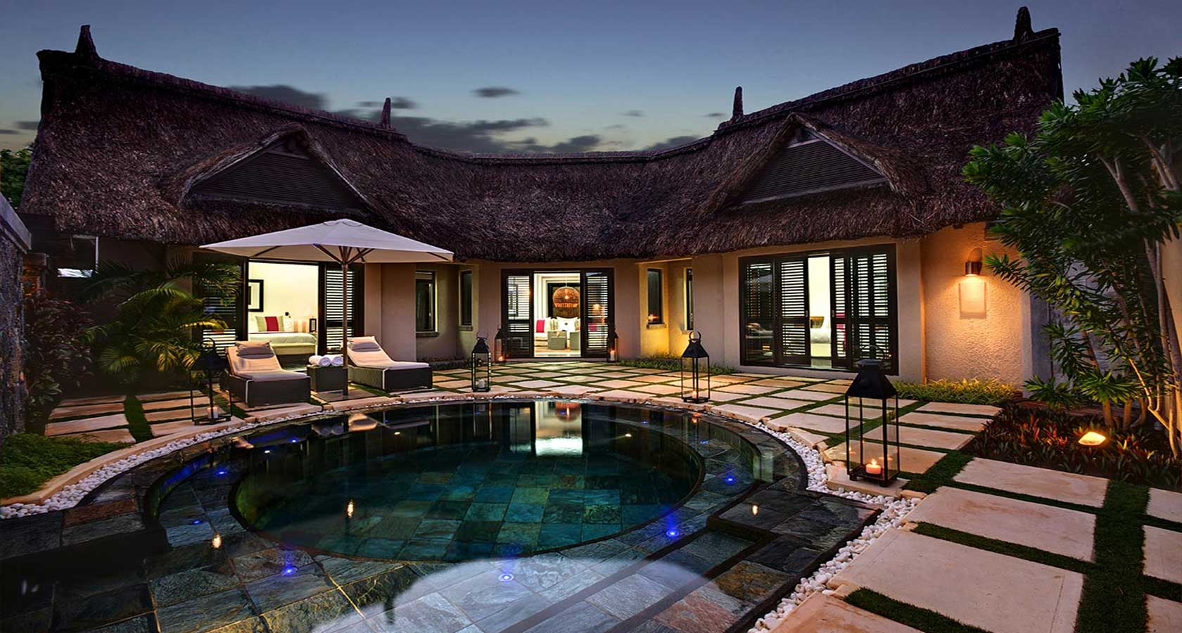 LUX BELLE MARE MAURITIUS Best honeymoon packages pool villa in evening