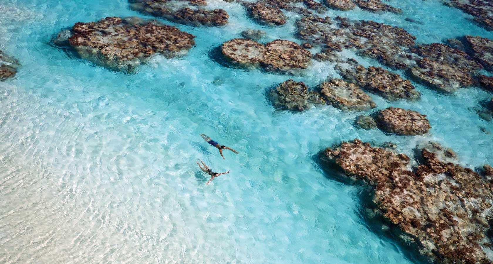 THE BRANDO Tahiti honeymoon couple swimming in lagoon aerial